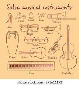 Salsa musical instruments vector set hand drawn