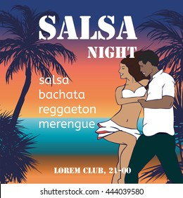 Salsa night flyer with couple and hand-drawn palms.