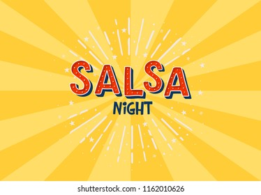 Salsa night vector logotype. Yellow rays background. Poster for dance party, cards, banners, t-shirts, dance studio.