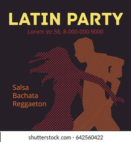 Salsa party illustration with dancing couple