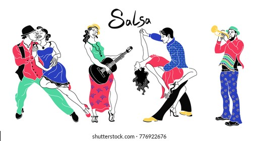 Salsa party poster.Set of couple dancing salsa.Retro style.Silhouettes of people dancing and musicians playing latin music.Cuba club.Salsa background.Trumpeter and guitarist. Salsa dance vector