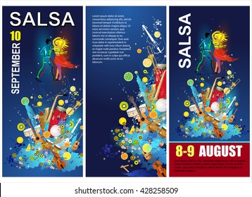The salsa party poster. The vector background of salsa dance. The salsa sport banner. Advertisement of the salsa dance. The social dance.