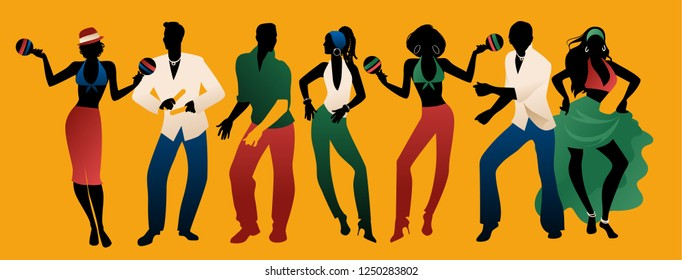 Salsa Party Time. Group of three men and four women dancing latin music. Two girls playing maracas and man playing the Claves.