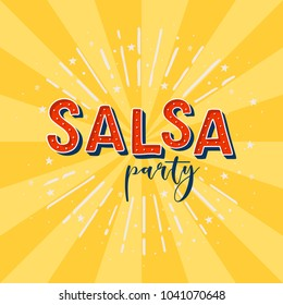 Salsa party vector logotype. Yellow rays background.  Poster for dance party, cards, banners, t-shirts, dance studio.