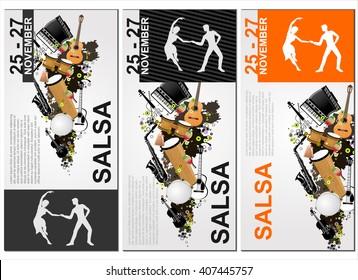 The salsa poster. The background of salsa dance. The salsa sport banner. Advertisement of the salsa dance. The social dance.