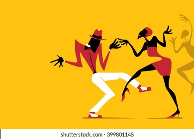 Salsa / Samba / Rumba / Latin Dance, Couple Dancing (Vector Art)