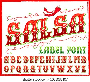 Salsa typeface. Vector hand crafted font for label design in traditional Mexican style.