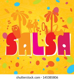 Salsa vector lettering with silhouettes of palms, musical instruments and confetti. Modern illustration and design element. Background for poster, banner of party os school