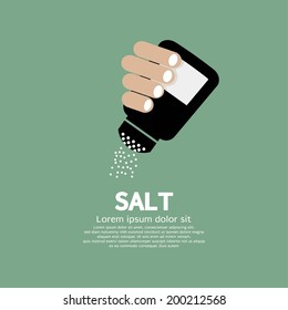 Salt Bottle In Hand Vector Illustration