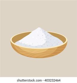 Salt bowl. Pile in a wooden bowl. Baking and cooking ingredient. Cartoon vector illustration. Food seasoning. Kitchen utensils