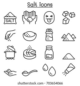 Salt icon set in thin line style