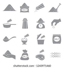 Salt Icons. Gray Flat Design. Vector Illustration.