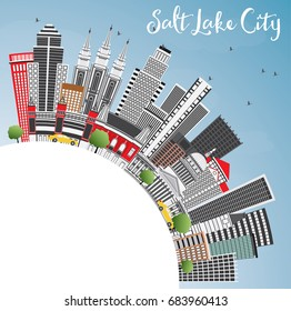 Salt Lake City Skyline with Gray Buildings, Blue Sky and Copy Space. Vector Illustration. Business Travel and Tourism Concept with Historic Architecture. Image for Presentation Banner Placard and Web.