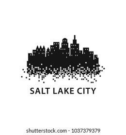 Salt Lake City Skyline Landscape Silhouette Logo Vector