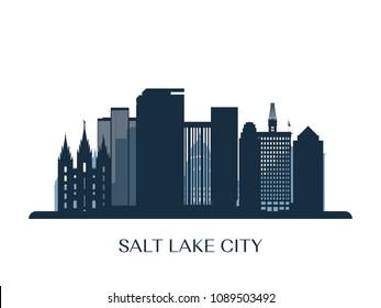 Salt lake city skyline, monochrome silhouette. Vector illustration.
