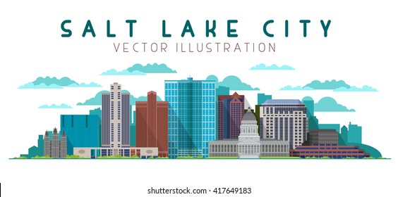 Salt Lake City skyline on white background. Vector illustration for banner, web and print.