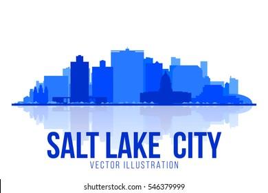 Salt Lake City skyline silhouette on white background. Vector illustration for banner, web and print.