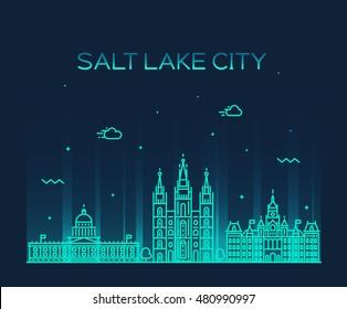 Salt Lake city skyline, Utah. Trendy vector illustration, linear style
