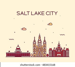 Salt Lake city skyline, Utah. Trendy vector illustration, linear style