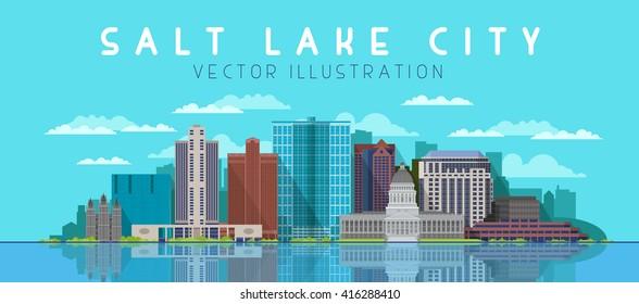 Salt Lake City skyline. Vector illustration.