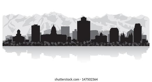 Salt Lake city USA skyline silhouette vector illustration