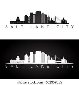 Salt Lake City USA skyline and landmarks silhouette, black and white design, vector illustration.