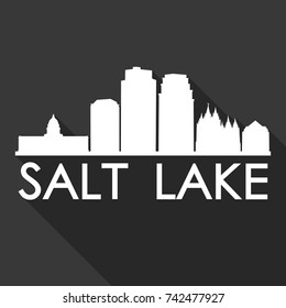 Salt Lake City Utah Flat Icon Skyline Silhouette Design City Vector Art Famous Buildings