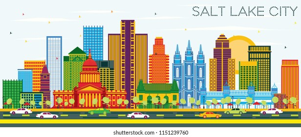 Salt Lake City Utah Skyline with Color Buildings and Blue Sky. Vector Illustration. Business Travel and Tourism Concept with Historic Architecture. Salt Lake City Cityscape with Landmarks.