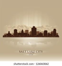 Salt Lake City, Utah skyline city silhouette