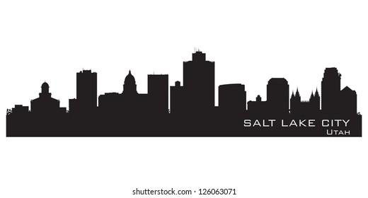 Salt Lake City, Utah skyline. Detailed city silhouette. Vector illustration
