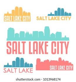 Salt Lake City Utah USA Flat Icon Skyline Silhouette Design City Vector Art Famous Buildings Color Set