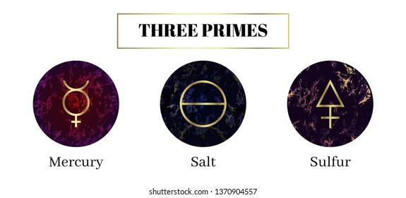 Salt, mercury, sulfur. Set of Alchemical symbols. The three primes or tria prima of which material substances are immediately composed. Sacred geometry on magic beautiful marble background.
