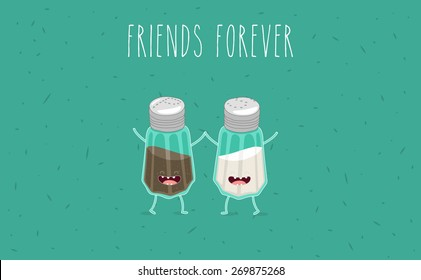 Salt and pepper illustration. Vector cartoon. Friends forever. Comic characters.