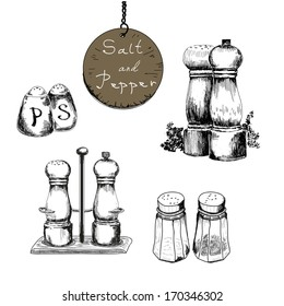Salt and pepper. Set of vector hand drawn illustrations