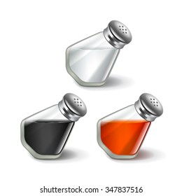 Salt and pepper shakers isolated on white photo-realistic vector illustration
