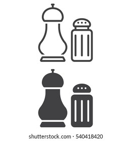 Salt and pepper shakers line icon, outline and filled vector sign, linear and full pictogram isolated on white. Symbol, logo illustration