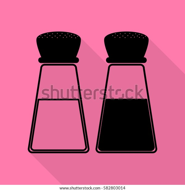 Salt and pepper sign. Black icon with flat style shadow path on pink background.