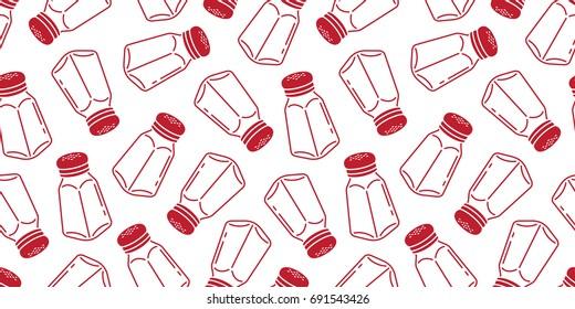 Salt pepper sugar bottle shaker Vector doodle seamless pattern wallpaper background