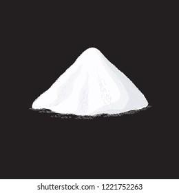 Salt pile. White sugar powder heap vector illustration on black background