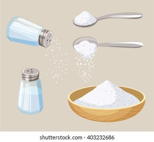 Salt set: shaker, spoon and bowl. Do pour. Baking and cooking ingredient. Cartoon vector food seasoning. Kitchen utensils