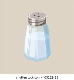 Salt shaker. Glass cellar. Baking and cooking ingredient. Cartoon vector illustration. Food seasoning. Kitchen utensils