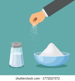 Salt in a shaker with metal cap and in a bowl. Hand sprinkles salt. Baking and cooking ingredient. Cartoon vector food seasoning. Kitchen utensils in a trendy flat design isolated on blue background.