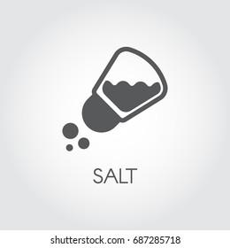 Salt shaker seasoning icon in flat design. Pictogram for food cooking theme. Simple emblem of spice. Vector illustration