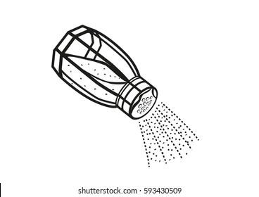Salt Shaker sprinkling in action. Editable Clip Art.