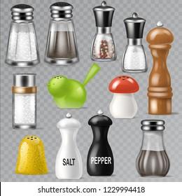 Salt shaker vector design pepper bottle glass container and wooden kitchen utensil saltshaker decor illustration set of salty cooking ingredients black-pepper isolated on transparent background