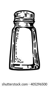 Salt shaker. Vintage vector engraving illustration for label, poster, web.