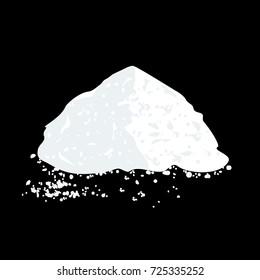 Salt or sugar pile isolated on black background. Vector illustration flat design