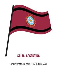 Salta Flag Waving Vector Illustration on White Background. Flag of Argentina Provinces.