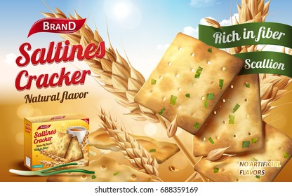Saltines cracker ads, tasty saltines in salty and scallion flavour with ingredients isolated on bokeh background in 3d illustration