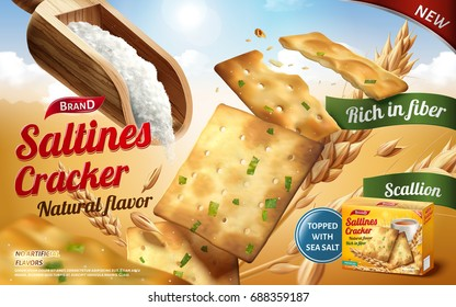 Saltines cracker ads, tasty saltines in salty and scallion flavour with a scoop of salt isolated on outdoor background in 3d illustration